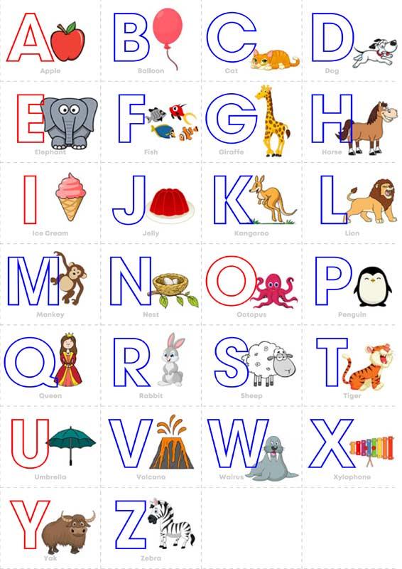 Английский алфавит с картинками, полностью на листе А4 для ...