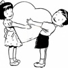 Мальчик и девочка с валентинкой