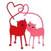 Кот и кошка хвостами делают сердечки