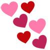 Розовые и красные сердечки