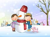 Дети обнимают снеговика